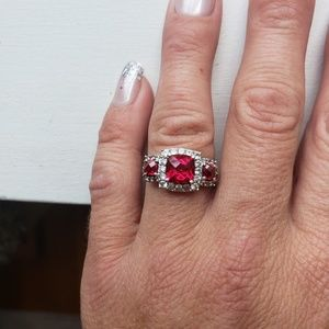 Jewelry - STERLING  SILVER  RUBY & CZ RING SZ 7